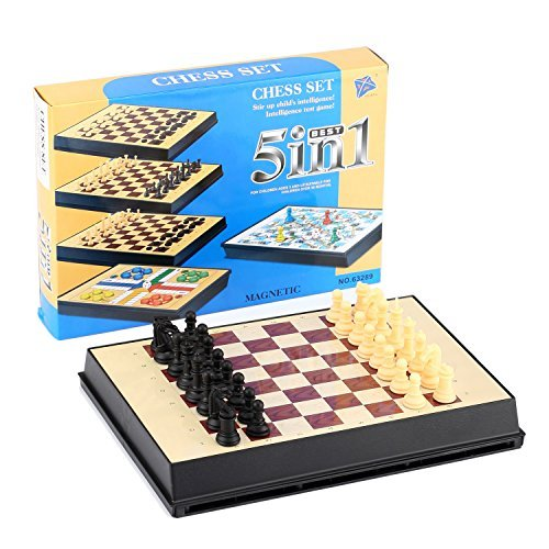 12'' Travel Magnetic Plastic Chess Multifunction 5 in 1 ChessCheckers/Ludo/Snake&Ladders/Checkers