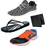 Earton Men Combo Pack Of 4 Sport Shoes With Wallet, Slipper