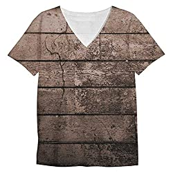 Snoogg Old Wood Textures Mens Casual V Neck All Over Printed T Shirts Tees