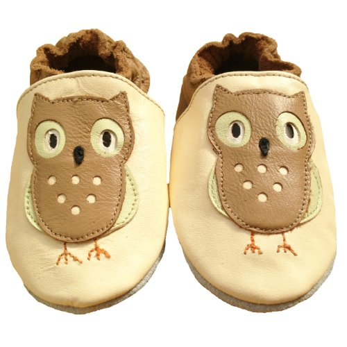Tiny's - Soft Leather Baby Shoes - Owl