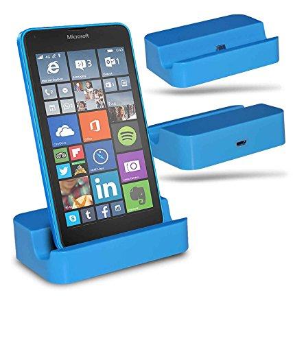 Microsoft Lumia 540 Dual SIM Station d'accueil de bureau avec chargeur Micro USB support de chargement - Blue - By Gadget Giant®