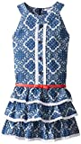 Hartstrings Big Girls' Printed Sleeveless Dress with Eyelet Trim