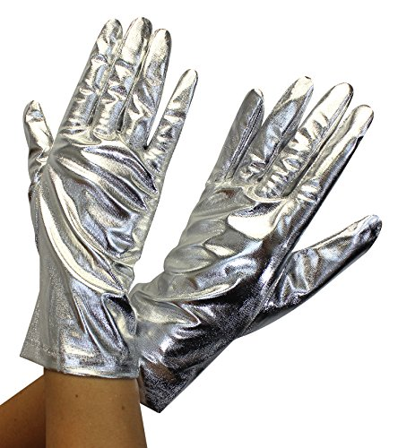 Enimay Women's Short Colored Satin Gloves Wedding Bridal Shower Formal Opera Silver Metallic