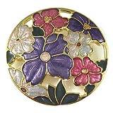 Brooches Store Round Enamel Japanese Flower Brooch Violet Enamel & Gold