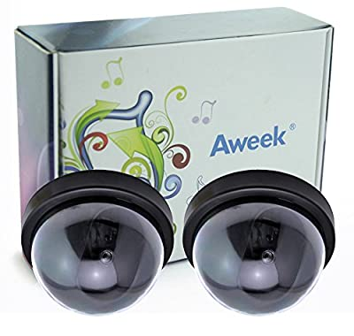Aweek® 2 Pack Wireless Fake Camera CCTV Camera Dome Fake Dummy Camera Surveillance Security Camera with LED Flashing Lights Simulated Dome Camera