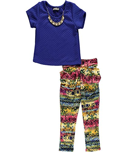 "George A Ltd Big Girls' ""Quilt & Pattern Jogger"" 2-Piece Outfit - Royal Blue, 12 front-917055"