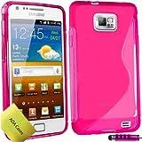 TPU Silikon Case Tasche Hülle Für Samsung Galaxy S2 S II i9100 Etui Schutzhülle Schutzfolie, Reinigungstuch, Mini Eingabestift AOA CasesTM (Rosa)