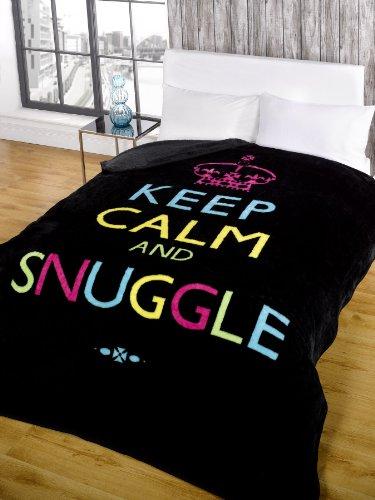 Dreamscene Keep Calm And Snuggle Mink Faux Fur Throw, Black, 200 X 240 Cm