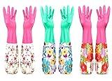 Enjoy Life 花柄 ゴム手袋 長袖 手口 3色セット 可愛い 捗る