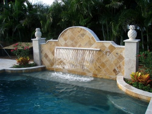 """48"""" Pool Aquatics Fountain Pond Garden Shower Wall Sheer Descent Waterfall + Color Changing Led Light, Power Source And Wireless Remote"""