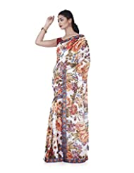 Aadarshini Women's Georgette Saree (4090, White And Multi)