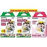 Fujifilm Instax Mini Film 5 Pack Pink BUNDLE, 2 Instax Mini TWIN 10 Sheets x 2 packs + Instax mini Pink Dot - Total 50 Sheets