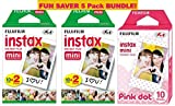 Fujifilm Instax Mini Film 5 Pack Pink BUNDLE, 2 Instax Mini TWIN 10 Sheets x 2 packs + Instax mini Pink Dot - Total 50 Sheets