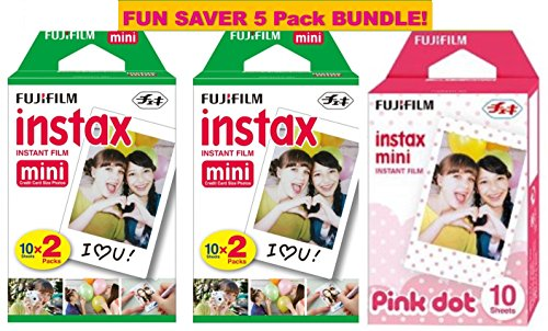 Cheap Fujifilm Instax Mini Film 5 Pack Pink BUNDLE, 2 Instax Mini TWIN 10 Sheets x 2 packs + Instax ...