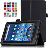 MoKo Fire 7 2015 Case - Slim Folding Cover for Amazon Fire Tablet (7 inch Display - 5th Generation, 2015 Release Only), BLACK