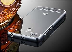 Onkarta (TM) Branded Cut for Sensor Luxury Metal Bumper Acrylic PC Mirror Back Mobile Cove Case For Xiaomi Redmi 3S / Redmi Prime / Redmi 3 Pro - Black