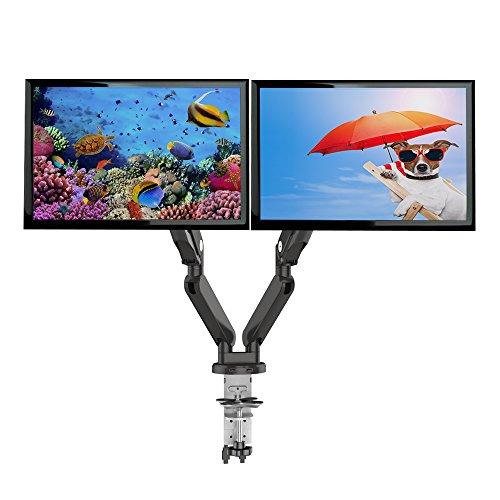 ロックテックLoctek ガス圧式デュアルモニターアーム USBポート付き 2画面設置 10-27インチのモニター対応D8D