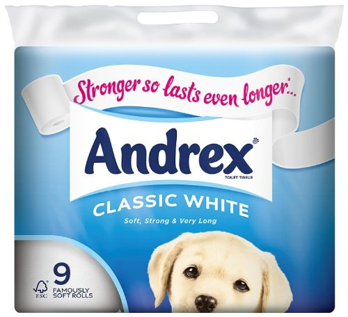 Andrex White Toilet Tissue 9 Rolls (Pack of 5, Total 45 Rolls)