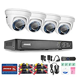 ANNKE 8CH 1080P HD-TVI H.264 Realtime DVR Security Camera System NO HDD included With (4)HD 1080P CCTV Dome Cameras,Weatherproof IP66,Night Vision, Remote Access and More