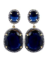 Gehna Mart AD Stone Studded Gold Plated Dangle Earring With Blue Sapphire Gemstone For Women