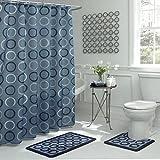 Bath Fusion Terrell Geometric 15-Piece Bath Set, Light Blue/Navy