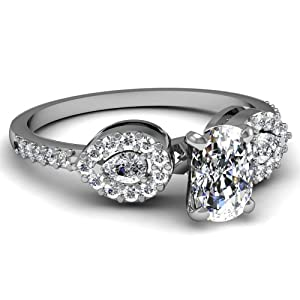 Fascinating Diamonds 0.85 Ct Cushion Very Good Cut Diamond Three Stone Drop Engagement Ring Pave Set GIA