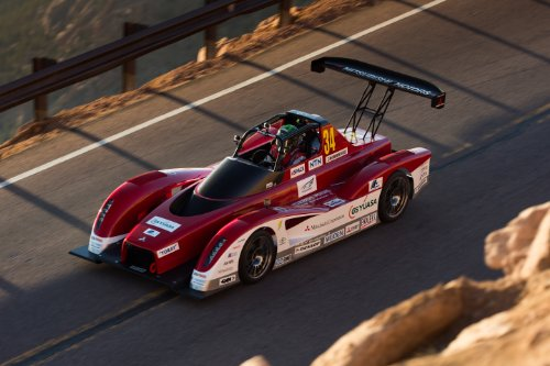 """Mitsubishi Miev Evolution Ii All Electric Pikes Peak (2013) Race Car Art Poster Print On 10 Mil Archival Satin Paper Red Front Top Side View 24""""X18"""""""
