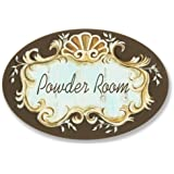 The Stupell Home Decor Collection Powder Room Brown and Tan Oval Wall Plaque