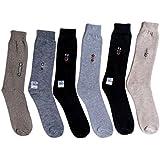 Tramp & Badger Men's Free Size Full Length Cotton Socks (Set Of 6) (Color:-Grey,Blue,Brown,Black,Green,Light Blue)