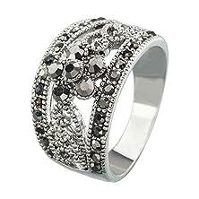 buy Fm42 Silver-Tone Womens Retro Style Grey Crystal Branch Flower Fashion Ring R1197 Size 5