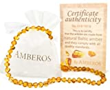 SALE!!! Amber Teething Necklace - for Babies (Unisex). Amberos Directly From Lithuania Certified Baltic Amber Baby Teething Necklace Highest Quality Guaranteed Anti Inflammatory, Drooling & Teething Pain.