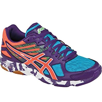 ASICS Women's Gel Flashpoint 2 Volley Ball Shoe,Grape/Peach/Green Gecko,7 M US