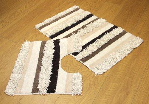 2 Piece Bath Mat Set Cream Beige Textured