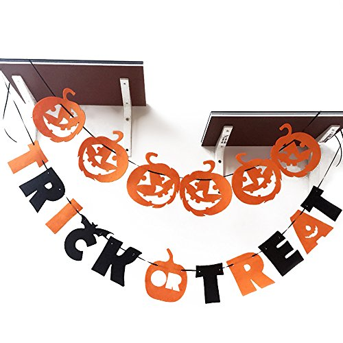 Alinktrend Pumpkin Halloween Decoration Kit- Adorable Felt Letters Garlands Decor Halloween Banners (Halloween Pumpkin Cupcakes Pictures)