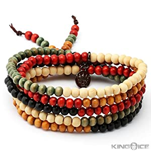King Ice Multi Color Wood Bead Wrap Bracelet