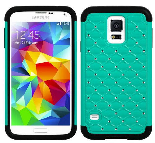 Mylife (Tm) Black And Teal - Diamond Shell Series (2 Layer Neo Hybrid) Slim Armor Case For The New Galaxy S5 (5G) Smartphone By Samsung (External Rubberized Hard Shell Flex Piece + Internal Soft Silicone Flexible Bumper Gel + Lifetime Warranty + Sealed In
