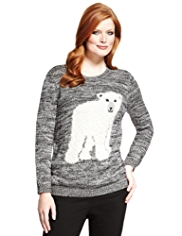 Plus Cotton Rich Polar Bear Jumper