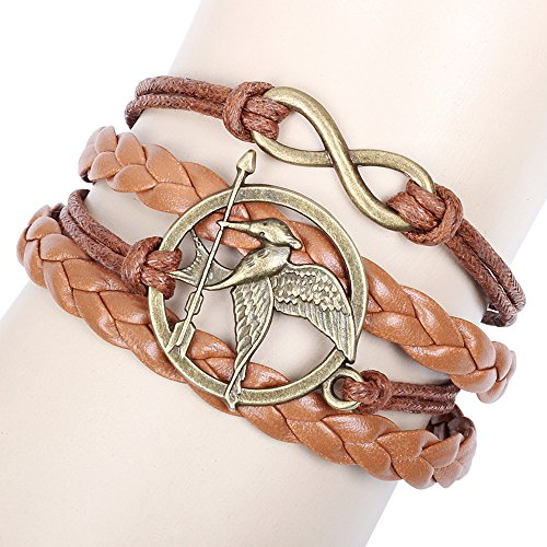 Winter's Secret Arrow Bird Multi Strand Brown Lucky Eight Leather Wave Bracelet