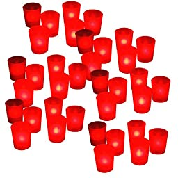 BlueDot Trading ® Flameless Flickering Battery Operated LED Votive Candles Candle Tea Lights Light Décor Wedding Centerpiece Romantic Mood Party Event ~ Quantity 36 ~ Red