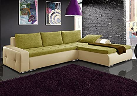 MAX beige and green faux leather and fabric large corner sofa bed couch with storage sleeping area living room furniture