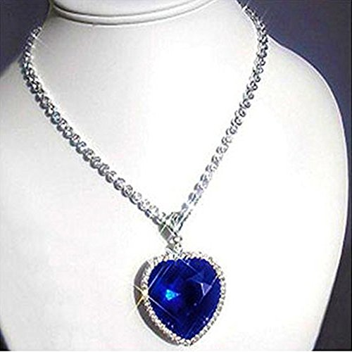 ffa94f39eb0c3 Sapphire Blue Heart Of The Ocean Titanic Necklace Pendant with Chain  Austrian Crystal 18K White Gold Plated Romantic Love Party Wear Jewellery  for ...