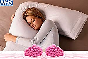 "•RohiLinen• NEW Living Orthopedic V Shaped Support pillow ""Includes Complimentary Cream Pillow Case FREE"""