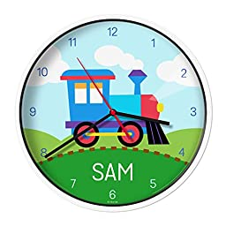 Olive Kids Personalized Train Clock with White Case