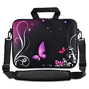 Purple Butterfly 9.7-Inch 10-Inch 10.1-Inch Netbook Tablet Shoulder Case Carrying Bag