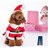 Mikayoo Christmas Costumes for Small Dog Medium Dog Or Cat, Santa Suit with Hat,Santa Dress with Hat, Santa Claus Costumes Christmas Holiday, Xmas coat with Santa Hat, Xmas dress with Santa Hat