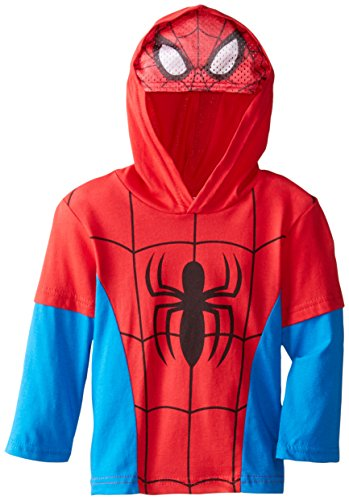 Marvel Little Boys' Spiderman Hooded Masked Top, Red, 2T