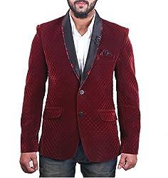 FashionSeva Men's Blazer (Blaz-002_Maroon_38)