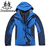 X-Mountain Spirit Men's 3in1 Water Resistant Breathable Warm Outwear Jacket Coat (X-Large, Blue)
