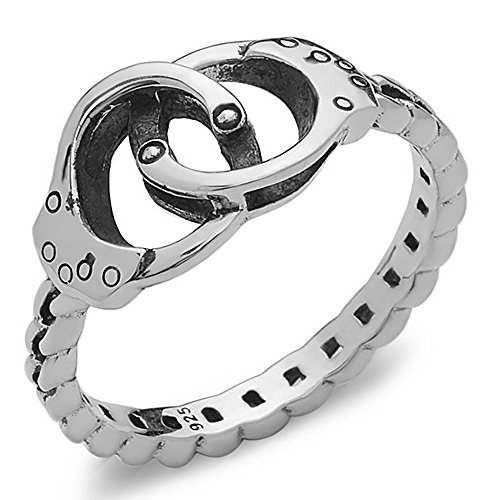 Handcuff Ring with Chain Band in 925 Sterling Silver by Silver Phantom Jewelry (Size 8) (Law Enforcement Rings compare prices)