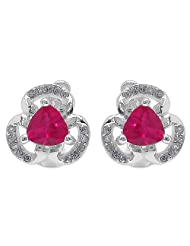 3.60 Grams Red & White Cubic Zirconia .925 Sterling Silver Earrings - B00WSO7RZM